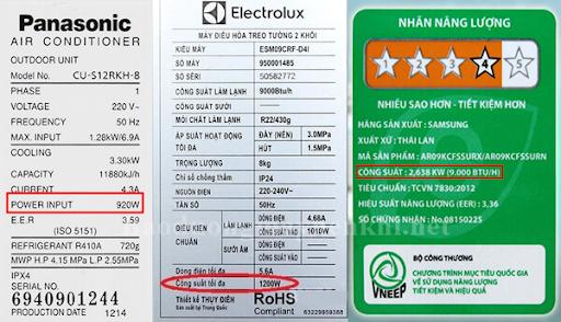 Thông số kỹ thuật trên các thiết bị điện