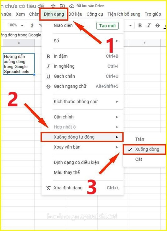 cách xuống hàng trong Google Sheets