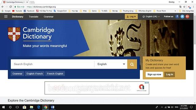 dịch văn bản tiếng anh với Cambridge Dictionary