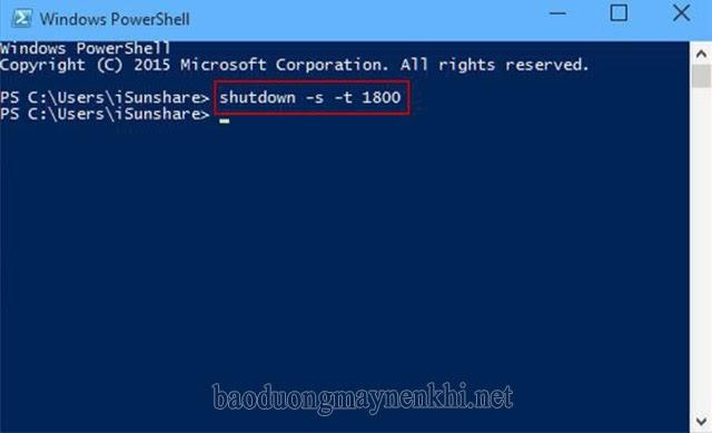 Hẹn giờ tắt máy tính Win 10 bằng Windows PowerShell
