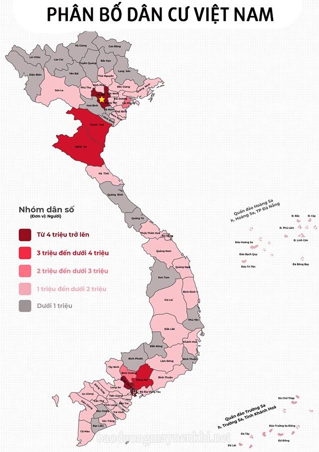 Bản đồ phân bố dân cư Việt Nam