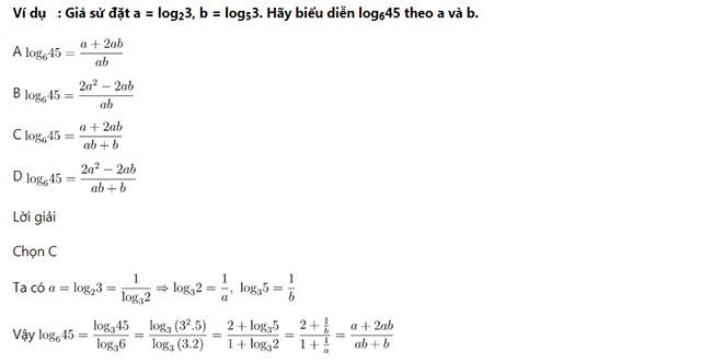 Biểu diễn công thức logarit theo các logarit đã biết