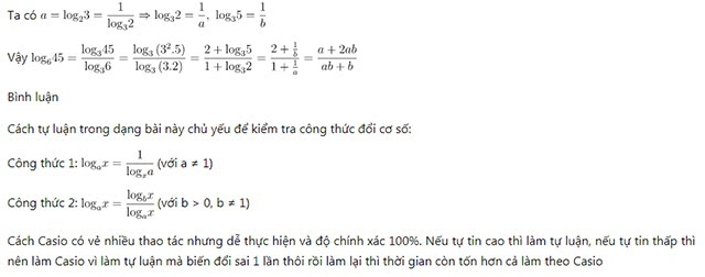 giải bài tập logarit bằng phương pháp tự luận